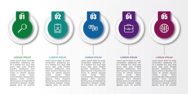 Plantilla de diseño de etiqueta de infografía creativa Vector Premium