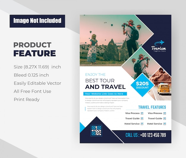 Plantilla de diseño de flyer de agencia de viajes y tours vector gratuito