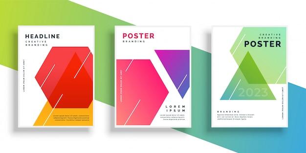 Plantilla de diseño de flyer colorido geométrico vector gratuito