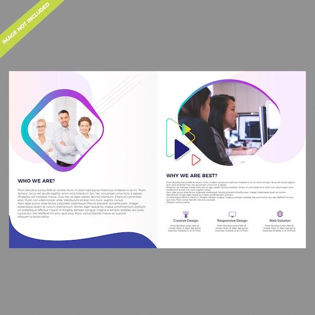 Plantilla de diseño de folleto bifold Vector Premium