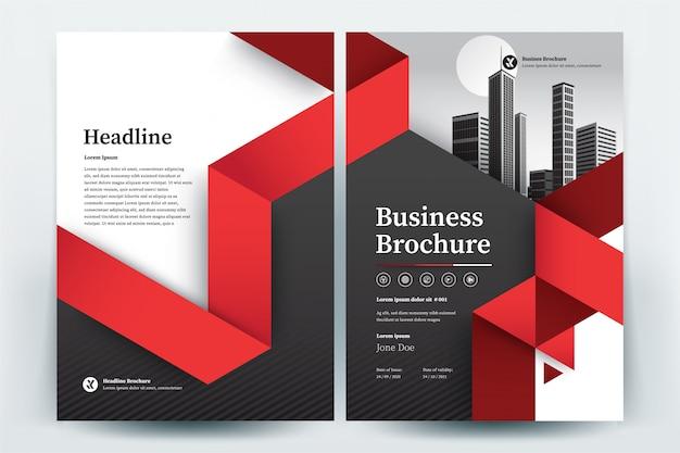 Plantilla de diseño de folleto comercial de triángulo rojo Vector Premium