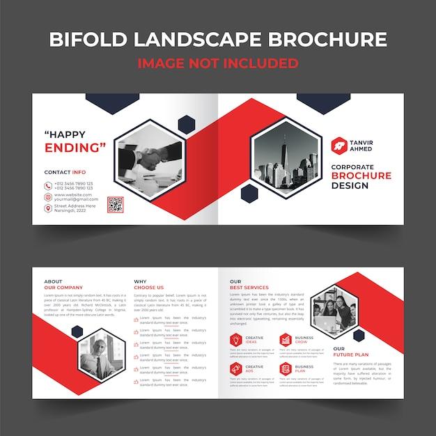 Plantilla de diseño de folleto corporativo de paisaje plegable Vector Premium