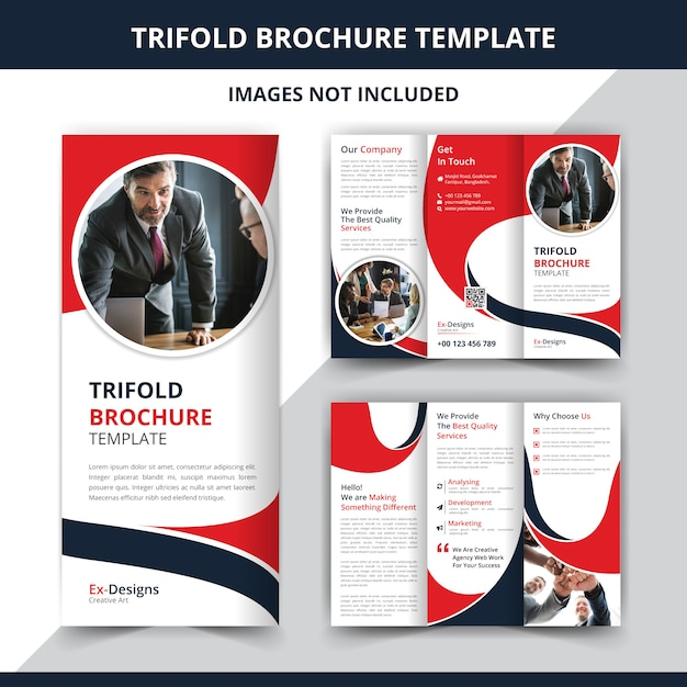 Plantilla de diseño de folleto corporativo triple Vector Premium