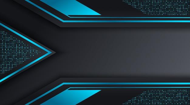 Plantilla de diseño de fondo de negocios corporativos techno negro y azul Vector Premium