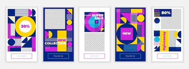 Plantilla de diseño de historias de instagram creativo Vector Premium