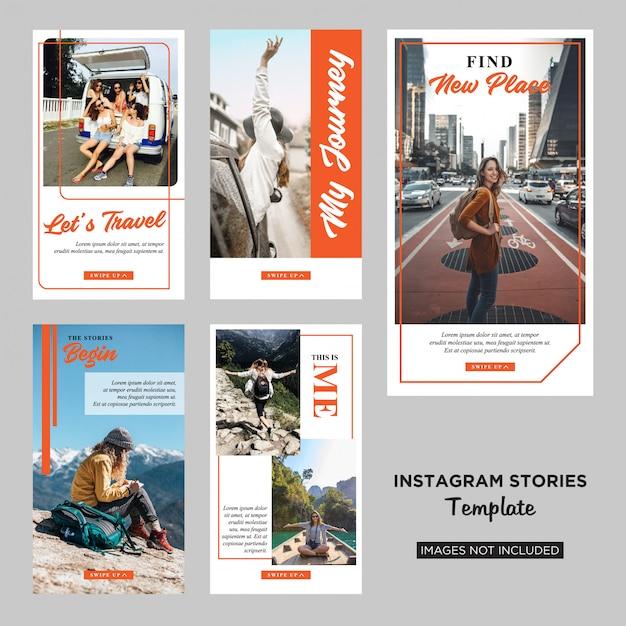 Plantilla de diseño de historias de instagram para viajeros vector premium Vector Premium