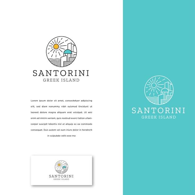 Plantilla de diseño de icono de logotipo de isla griega de santorini Vector Premium