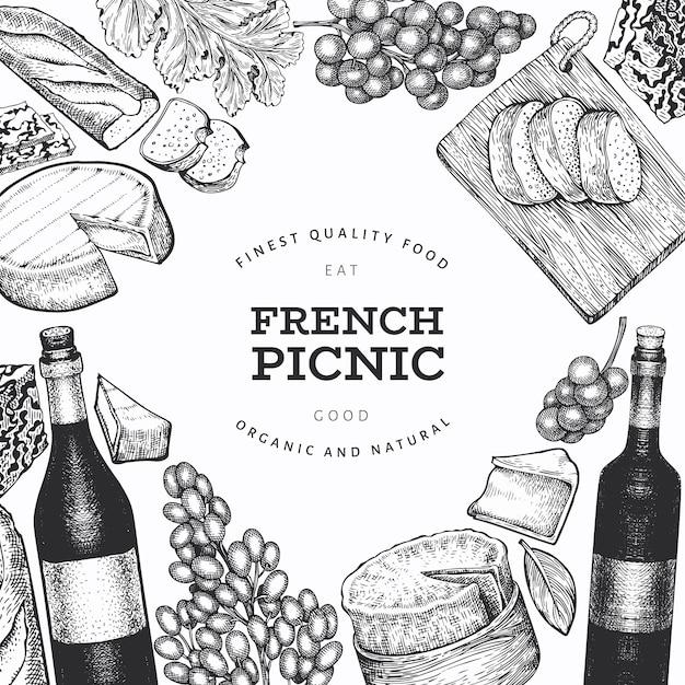 Plantilla de diseño de ilustración de comida francesa. ilustraciones de comida de picnic de vector dibujado a mano. bandera de bocadillos y vinos diferentes de estilo grabado. fondo de comida vintage. Vector Premium