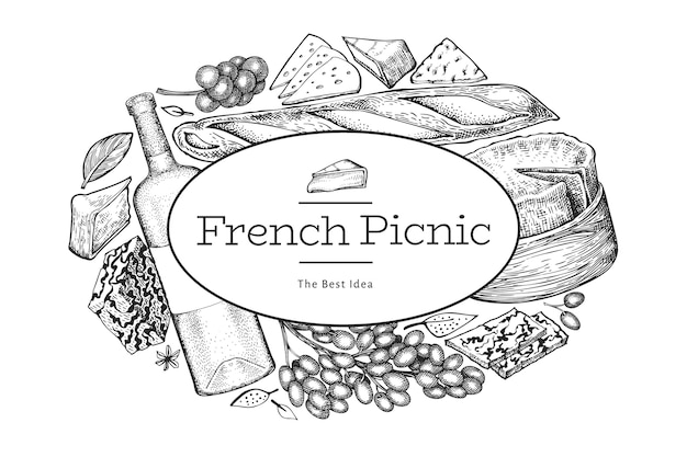 Plantilla de diseño de ilustración de comida francesa Vector Premium