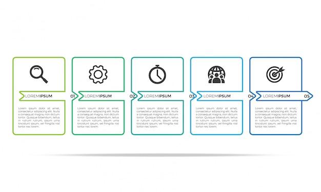 Plantilla de diseño de infografía delgada línea Vector Premium