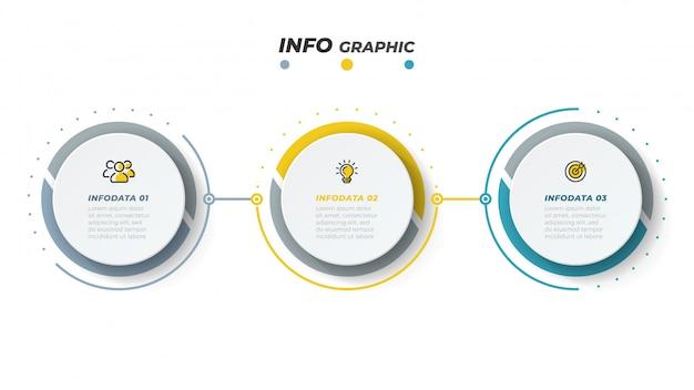 Plantilla de diseño de infografía vectorial con iconos de marketing. concepto de negocio con 3 opciones o pasos. Vector Premium