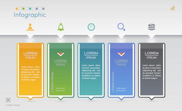 Plantilla de diseño de infografías con iconos Vector Premium