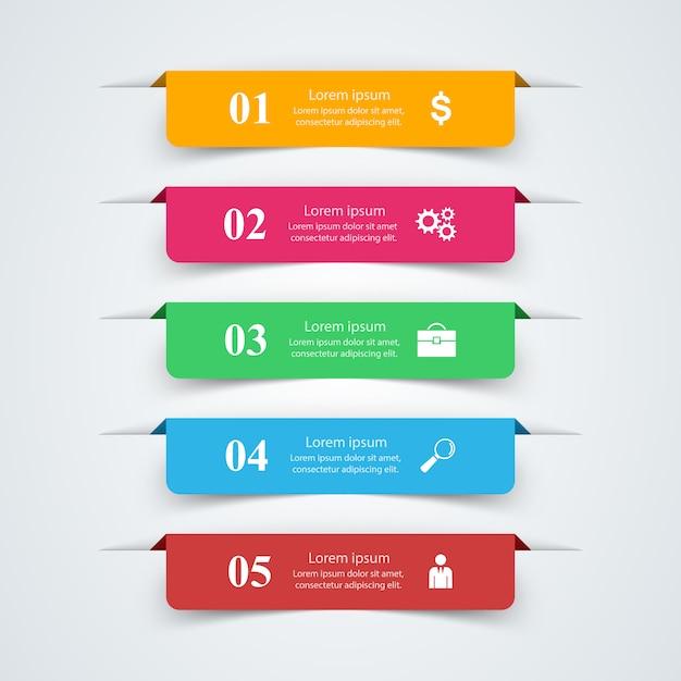 Plantilla de diseño infográfico 3d e iconos de marketing. Vector Premium