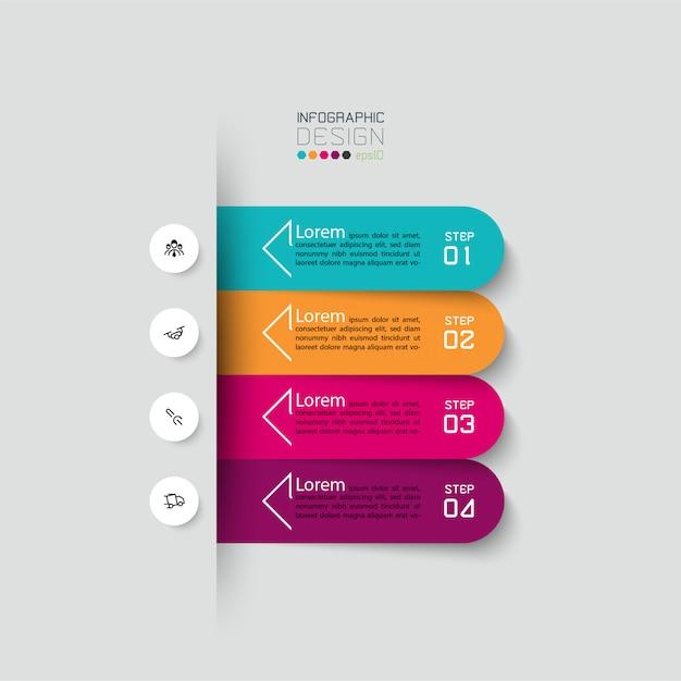Plantilla de diseño infográfico de 4 pasos. Vector Premium