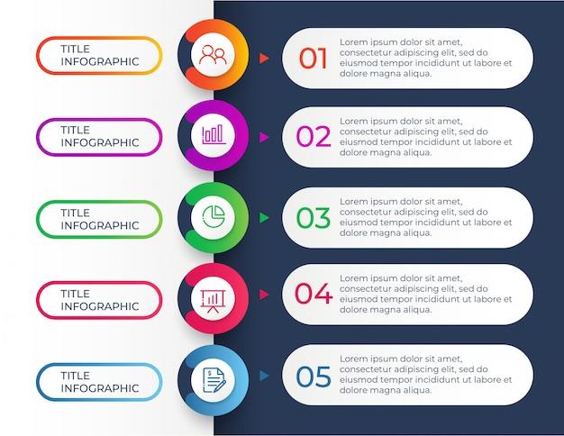 Plantilla de diseño infográfico con 5 pasos de opciones Vector Premium