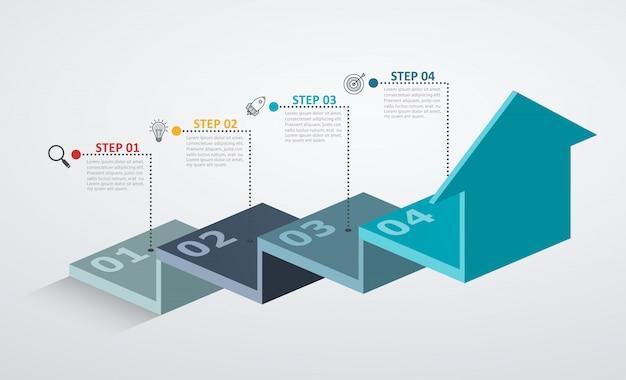 Plantilla de diseño infográfico con estructura escalonada flecha arriba, concepto de negocio con 4 piezas de opciones. Vector Premium