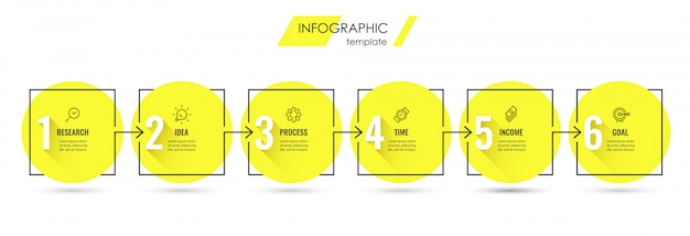Plantilla de diseño infográfico con iconos y 6 opciones o pasos. Vector Premium