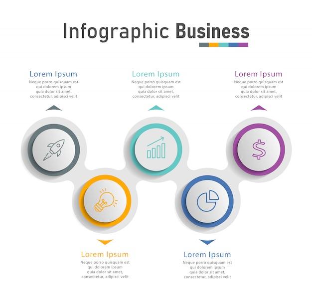 Plantilla de diseño infográfico con iconos Vector Premium