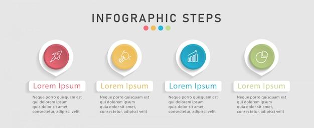 Plantilla de diseño infográfico de la línea de tiempo para el diseño del flujo de trabajo, diagrama. concepto de negocio con 4 opciones, pasos o procesos. Vector Premium