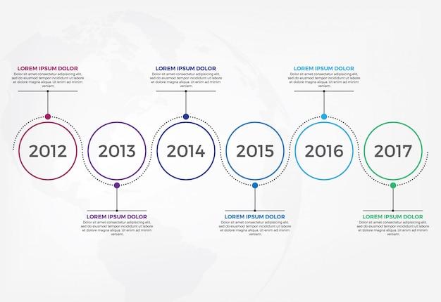 Plantilla de diseño infográfico línea de tiempo horizontal. Vector Premium