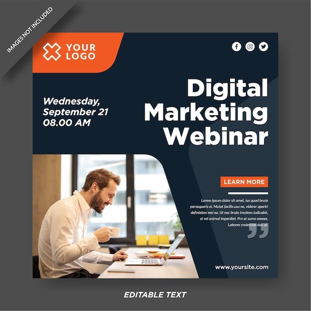 Plantilla de diseño de instagram de seminario web de marketing digital Vector Premium
