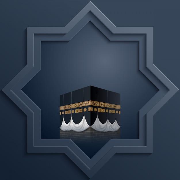 Plantilla de diseño islámico octagonal con el icono de kaaba. Vector Premium