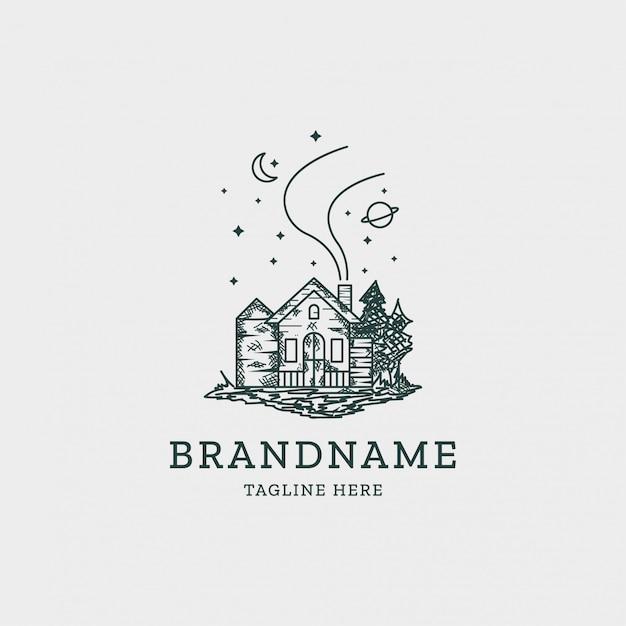 Plantilla de diseño de logo de casa vintage Vector Premium