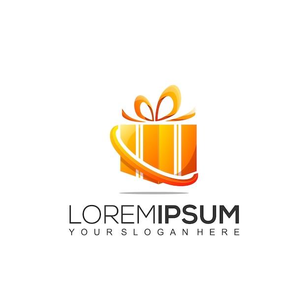 Plantilla de diseño de logotipo de caja de regalo Vector Premium