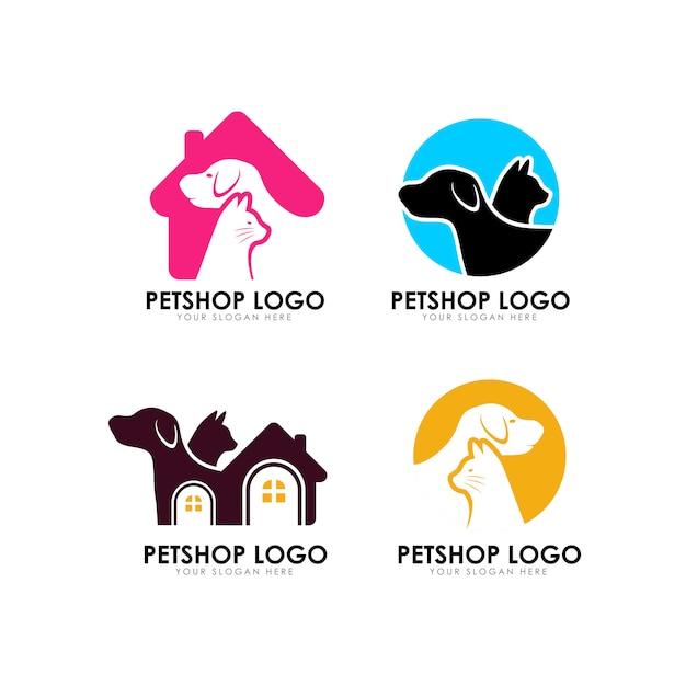 Plantilla de diseño de logotipo de casa de mascotas Vector Premium
