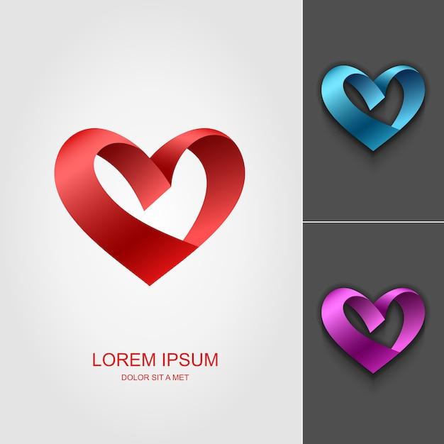 Plantilla de diseño de logotipo de cinta de san valentín corazón Vector Premium