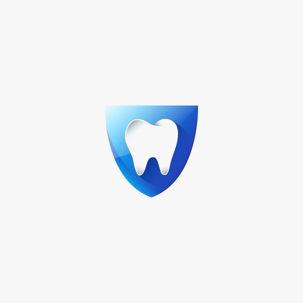 Plantilla de diseño de logotipo dental de diente médico escudo médico Vector Premium