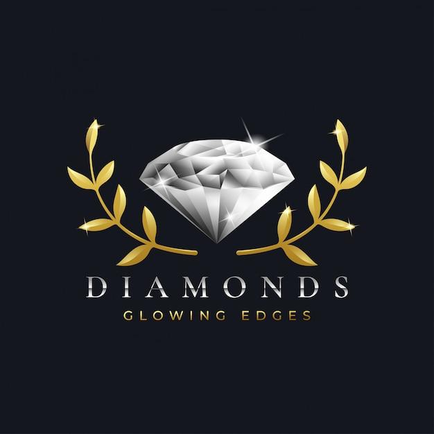 Plantilla de diseño de logotipo de diamantes de lujo Vector Premium