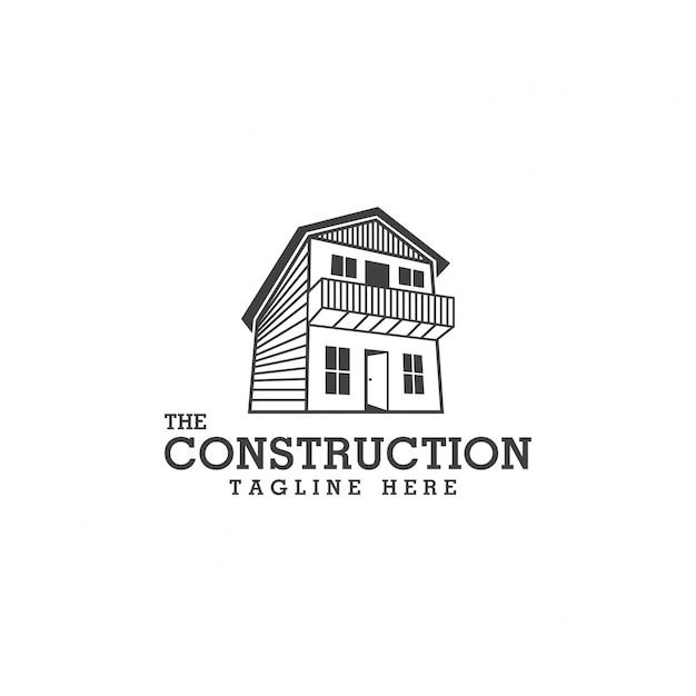 Plantilla de diseño de logotipo de diseño y construcción Vector Premium