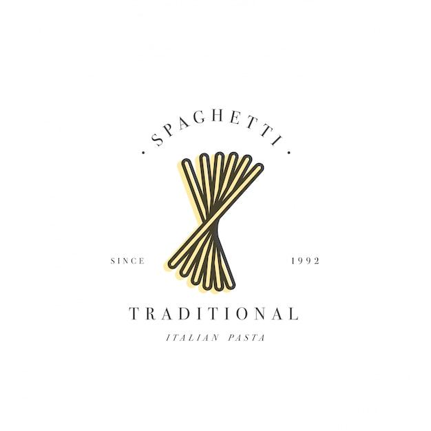 Plantilla de diseño de logotipo y emblema o insignia. pasta italiana - espagueti. logotipos lineales. Vector Premium