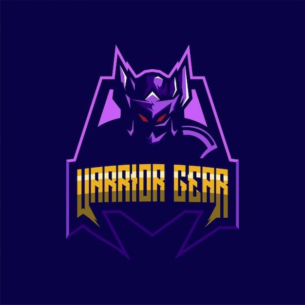 Plantilla de diseño de logotipo impresionante guerrero Vector Premium