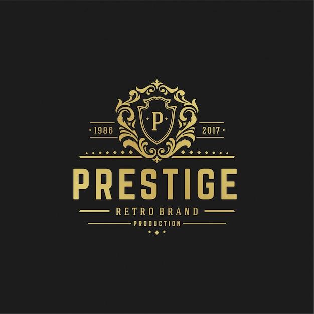 Plantilla de diseño de logotipo de lujo formas de ornamento real victoriana para diseño de logotipo o insignia Vector Premium