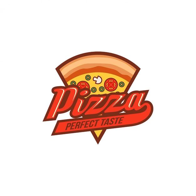 Plantilla de diseño de logotipo de pizza Vector Premium