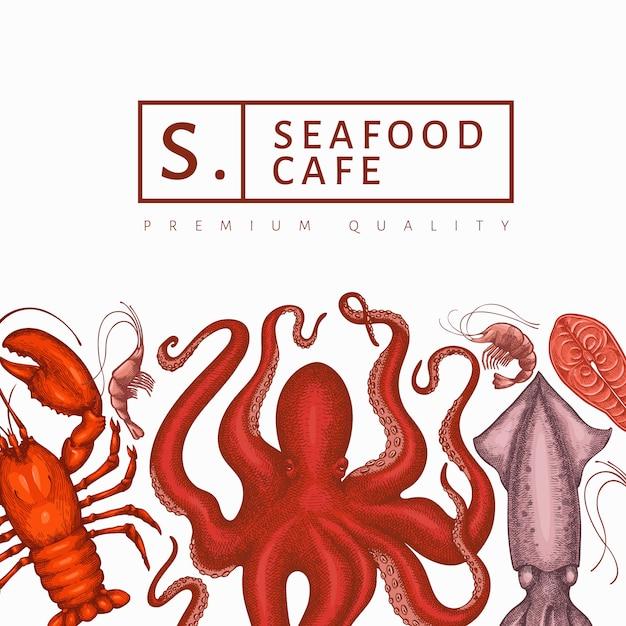Plantilla de diseño de mariscos. ilustración de mariscos vector dibujado a mano. banner de comida de estilo grabado. fondo de animales marinos retro Vector Premium