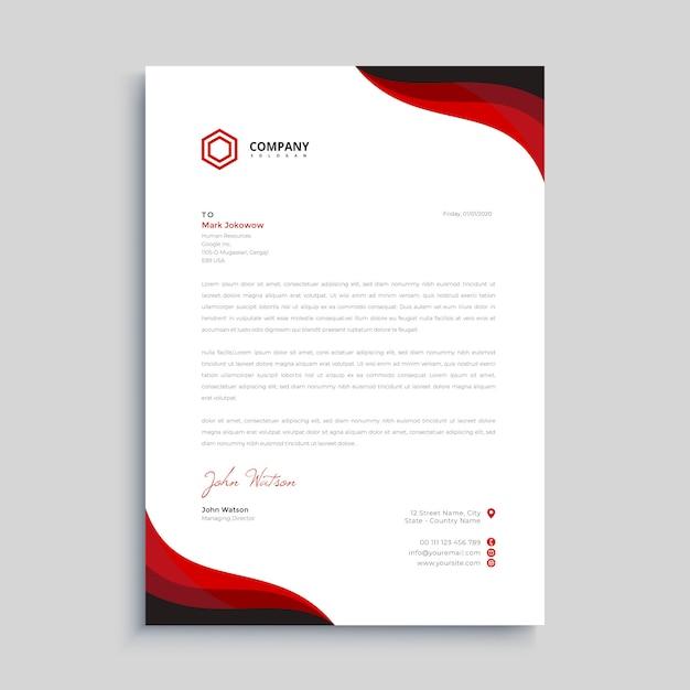 Plantilla de diseño de membrete elegante rojo y negro Vector Premium