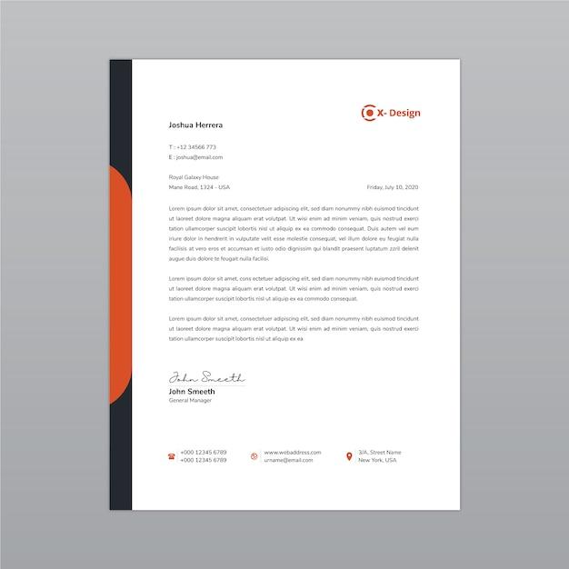 Plantilla de diseño de membrete Vector Premium