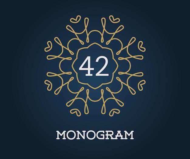 Plantilla de diseño de monograma con ilustración de letra Vector Premium