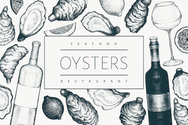 Plantilla de diseño de ostras y vino. banner de mariscos. Vector Premium