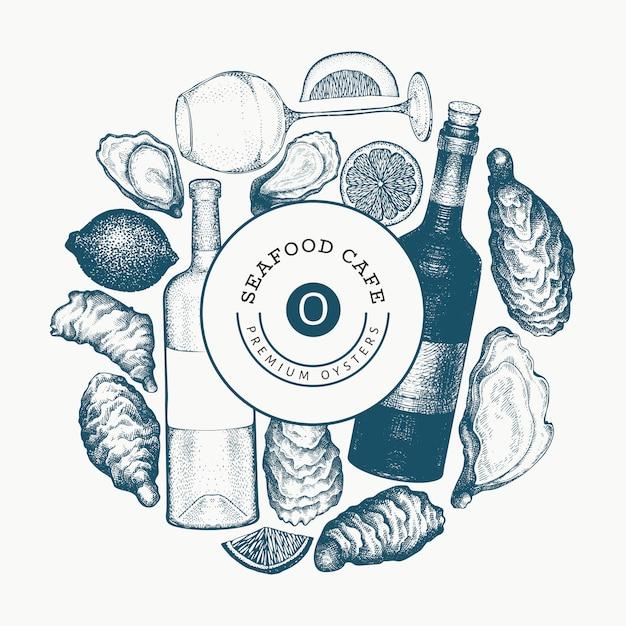 Plantilla de diseño de ostras y vino. dibujado a mano ilustración. banner de mariscos. Vector Premium