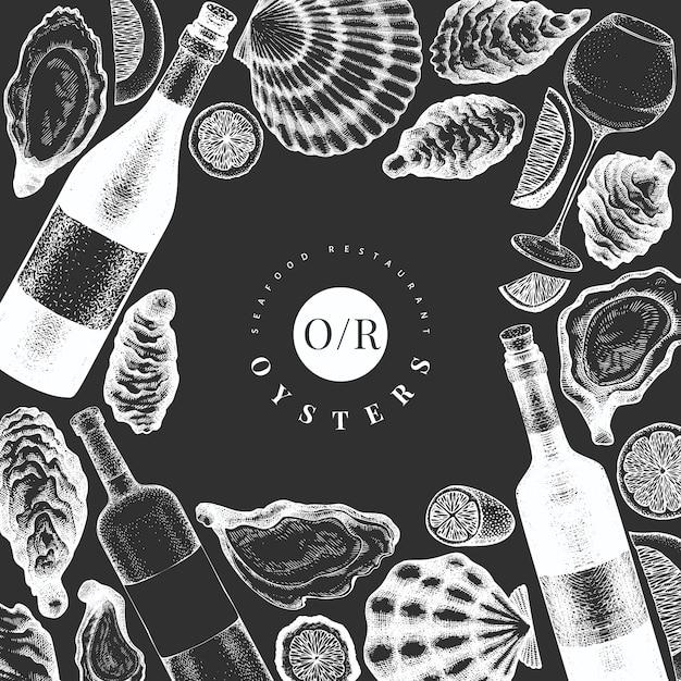 Plantilla de diseño de ostras y vino. dibujado a mano ilustración en pizarra. banner de mariscos. Vector Premium