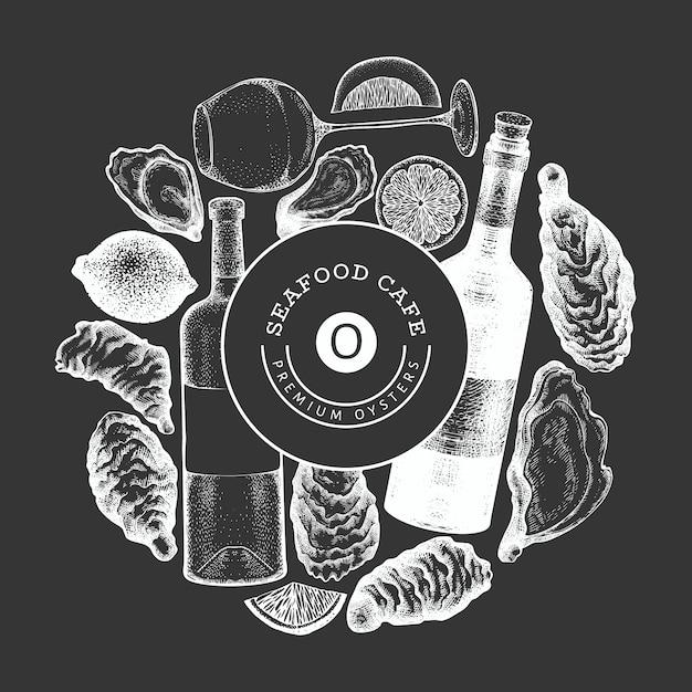 Plantilla de diseño de ostras y vino. dibujado a mano ilustración en pizarra. mariscos . se puede utilizar para menú de diseño, envases, recetas, etiquetas, mercado de pescado, productos de mariscos. Vector Premium