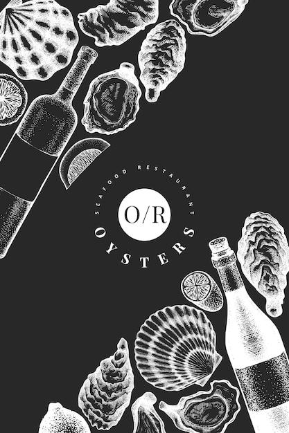 Plantilla de diseño de ostras y vino. ilustración de vector dibujado a mano en pizarra. Vector Premium
