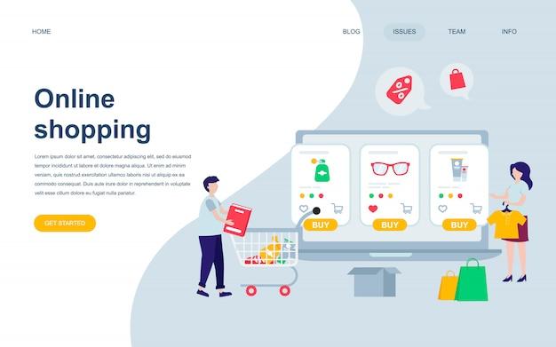 Plantilla de diseño de página web plana moderna de compras en línea Vector Premium