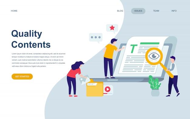 Plantilla de diseño de página web plana moderna de contenido de calidad Vector Premium