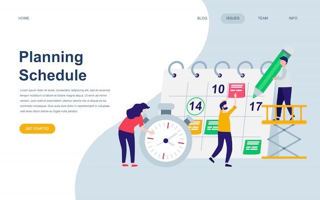 Plantilla de diseño de página web plana moderna de planificación de planificación Vector Premium