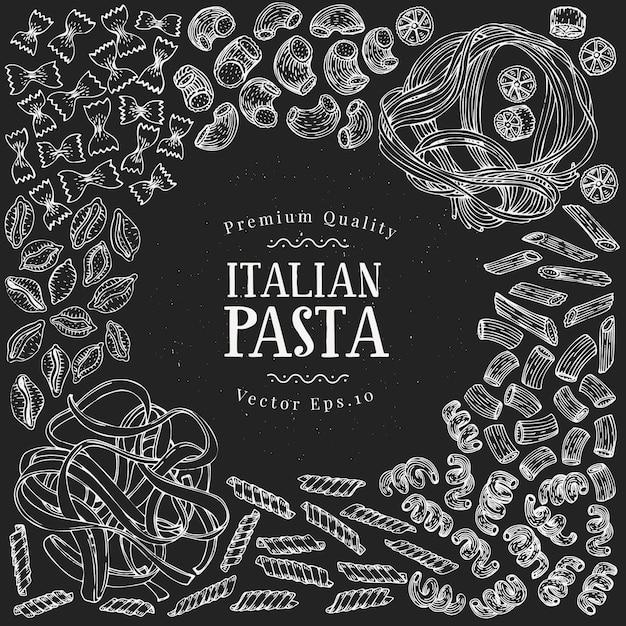 Plantilla de diseño de pasta dibujada a mano. ilustraciones de tipos de pasta de vector en pizarra. fondo de comida vintage Vector Premium
